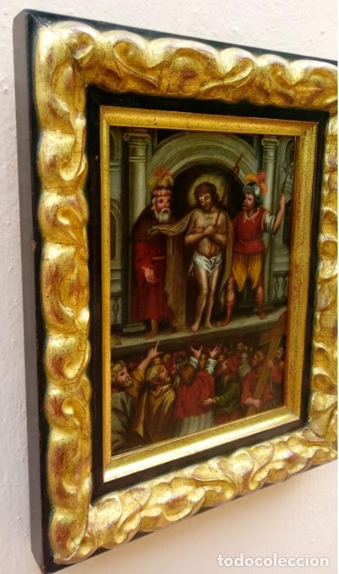 Arte: ÓLEO SOBRE TABLA -JESÚS ANTE PILATOS-, ESC. ITALIANA FINALES S. XVII. DIM.- 36X29.5 CMS - Foto 9 - 160439810