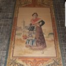 Arte: TAPIZ PINTADO A MANO DE L.TABERNER Y MONTALBO FECHADO 1889 ALTA COLECCIÓN. Lote 160464854