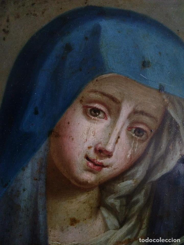 Arte: Virgen Dolorosa, Óleo sobre cobre S. XVIII - Foto 5 - 160485586