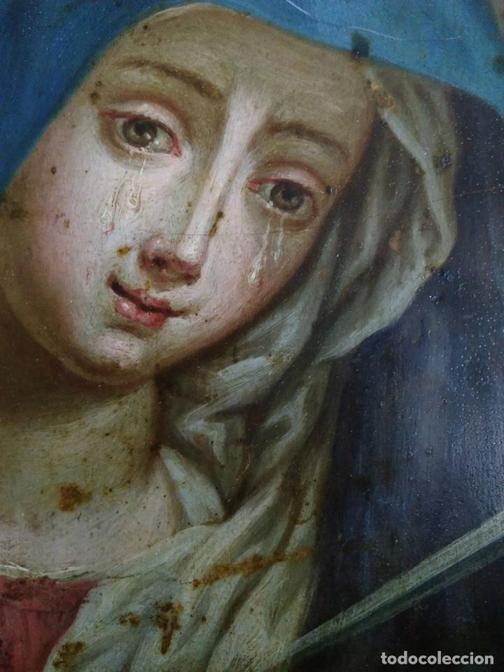 Arte: Virgen Dolorosa, Óleo sobre cobre S. XVIII - Foto 6 - 160485586