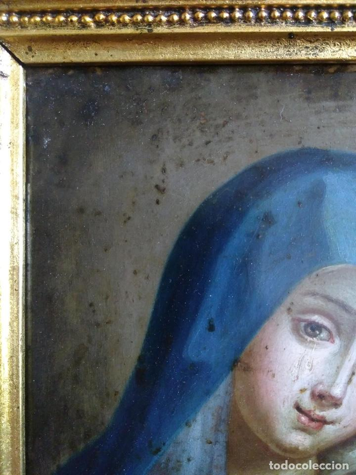 Arte: Virgen Dolorosa, Óleo sobre cobre S. XVIII - Foto 7 - 160485586