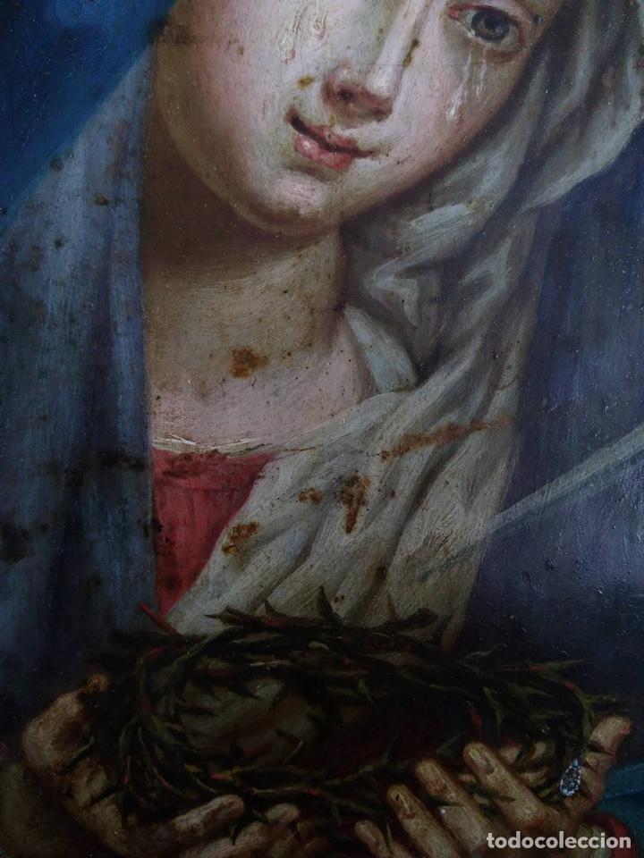 Arte: Virgen Dolorosa, Óleo sobre cobre S. XVIII - Foto 8 - 160485586