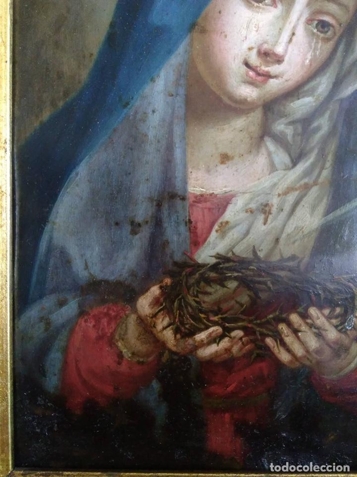 Arte: Virgen Dolorosa, Óleo sobre cobre S. XVIII - Foto 9 - 160485586