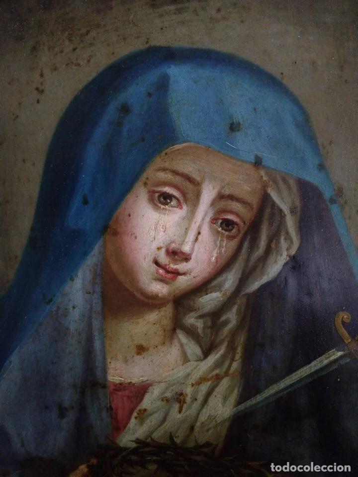 Arte: Virgen Dolorosa, Óleo sobre cobre S. XVIII - Foto 10 - 160485586