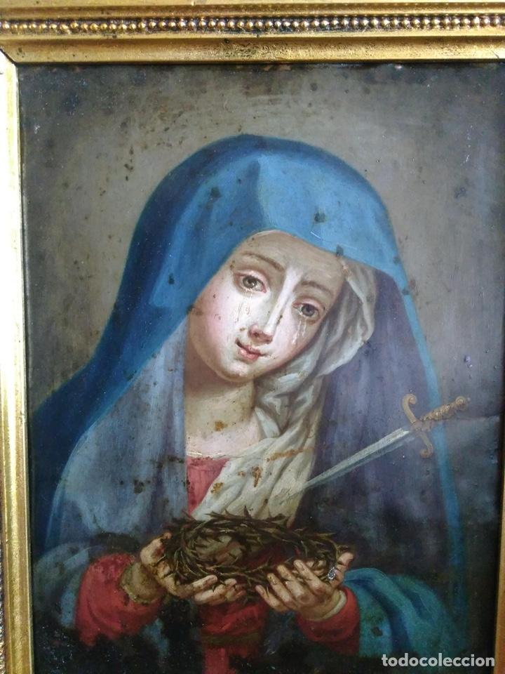 Arte: Virgen Dolorosa, Óleo sobre cobre S. XVIII - Foto 11 - 160485586