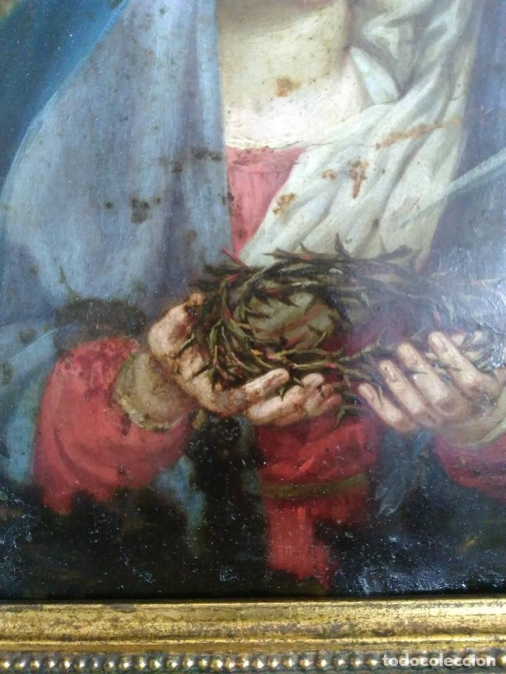 Arte: Virgen Dolorosa, Óleo sobre cobre S. XVIII - Foto 12 - 160485586