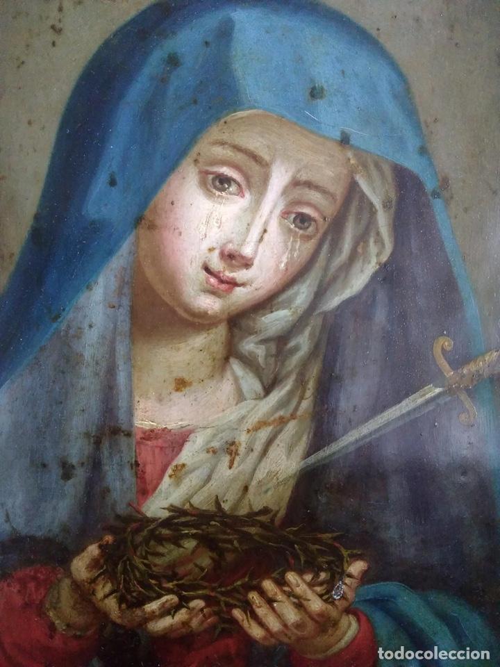 Arte: Virgen Dolorosa, Óleo sobre cobre S. XVIII - Foto 13 - 160485586