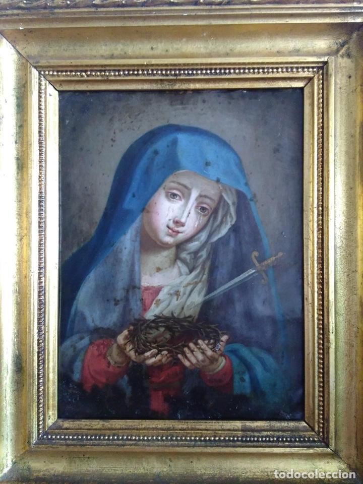 Arte: Virgen Dolorosa, Óleo sobre cobre S. XVIII - Foto 4 - 160485586