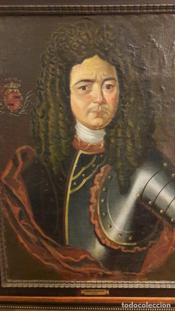 Arte: Pareja de Retratos Franceses. oleo/lienzo hacia 1680. Caballero con Armadura - Foto 2 - 160543390