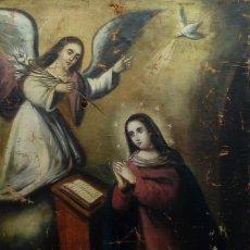 Arte: ÓLEO S/LIENZO -ANUNCIACIÓN-, ESCUELA BARROCA SEVILLANA, SIGLO XVIII. DIM.- 90.5X70 CMS. .. Lote 160578086