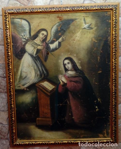 Arte: ÓLEO S/LIENZO -ANUNCIACIÓN-, ESCUELA BARROCA SEVILLANA, SIGLO XVIII. DIM.- 90.5X70 CMS. . - Foto 2 - 160578086