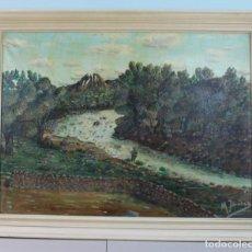 Arte: PINTURA AL ÓLEO, FIRMADA M.JIMÉNEZ, PAISAJE, 90 X 70 CM.. Lote 160659598