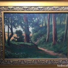 Arte: ÓLEO TITULADO ELS EUCALIPTOS FIRMADO Y FECHADO VICENS MIQUEL 1924. Lote 160677794