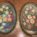 Arte: DOS BODEGONES FLORALES OVALADOS, CON MARCO DORADO, OLEO SOBRE TABLA. FIRMA NO RECONOCIDA. ROSAS. Lote 160711654