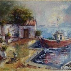 Arte: ÓLEO ORIGINAL.CASAS DE PESCADORES.. Lote 160721702
