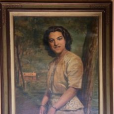 Arte: RAMÓN BORRELL PLA (BARCELONA 1876-1963) (76X56CM OBRA) ÓLEO CON RETRATO FEMENINO DEL PINTOR CATALÁN. Lote 160735698