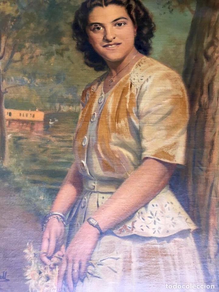 Arte: RAMÓN BORRELL PLA (Barcelona 1876-1963) (76x56cm obra) Óleo con retrato femenino del pintor catalán - Foto 2 - 160735698