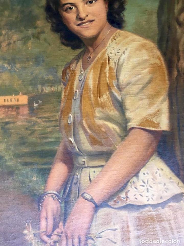 Arte: RAMÓN BORRELL PLA (Barcelona 1876-1963) (76x56cm obra) Óleo con retrato femenino del pintor catalán - Foto 5 - 160735698