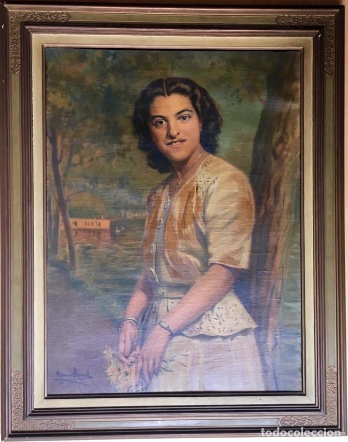 Arte: RAMÓN BORRELL PLA (Barcelona 1876-1963) (76x56cm obra) Óleo con retrato femenino del pintor catalán - Foto 7 - 160735698