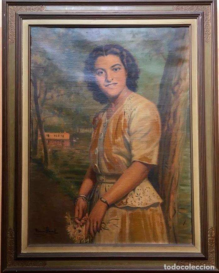Arte: RAMÓN BORRELL PLA (Barcelona 1876-1963) (76x56cm obra) Óleo con retrato femenino del pintor catalán - Foto 8 - 160735698