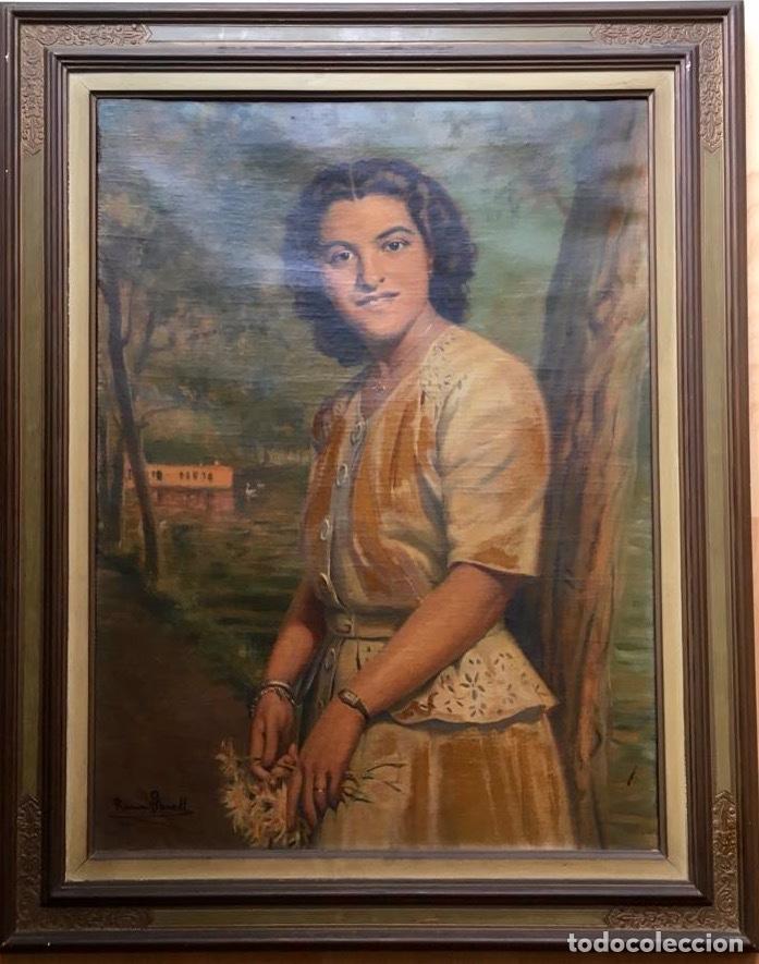 Arte: RAMÓN BORRELL PLA (Barcelona 1876-1963) (76x56cm obra) Óleo con retrato femenino del pintor catalán - Foto 9 - 160735698