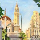 Arte: ESPECTACULAR VISTA DE SAN MANUEL Y SAN BENITO, EL RETIRO, MADRID. Lote 160741414