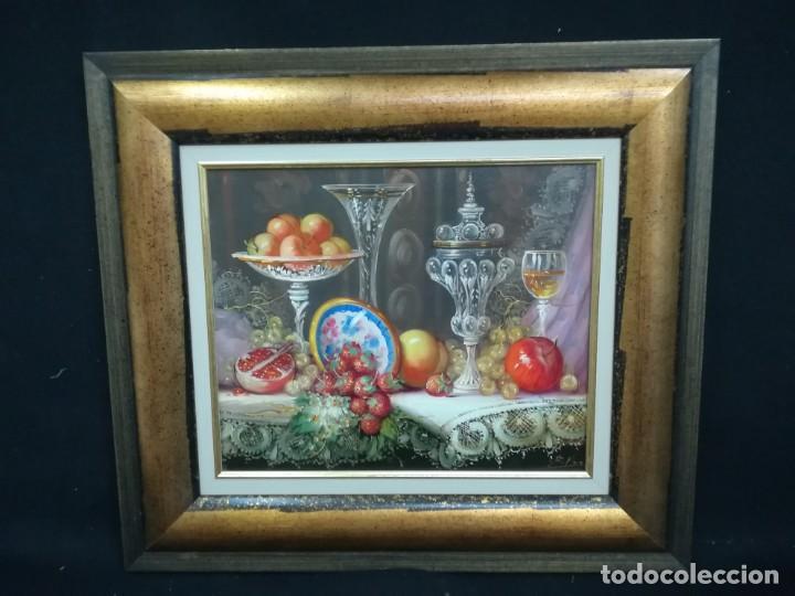 BODEGON CON FRUTA Y CRISTAL DEL ARTISTA R.MICHEL (Arte - Pintura - Pintura al Óleo Contemporánea )