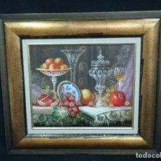 Arte: BODEGON CON FRUTA Y CRISTAL DEL ARTISTA R.MICHEL. Lote 160845870