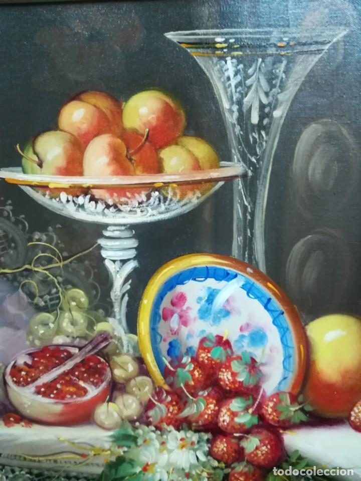 Arte: BODEGON CON FRUTA Y CRISTAL DEL ARTISTA R.MICHEL - Foto 2 - 160845870