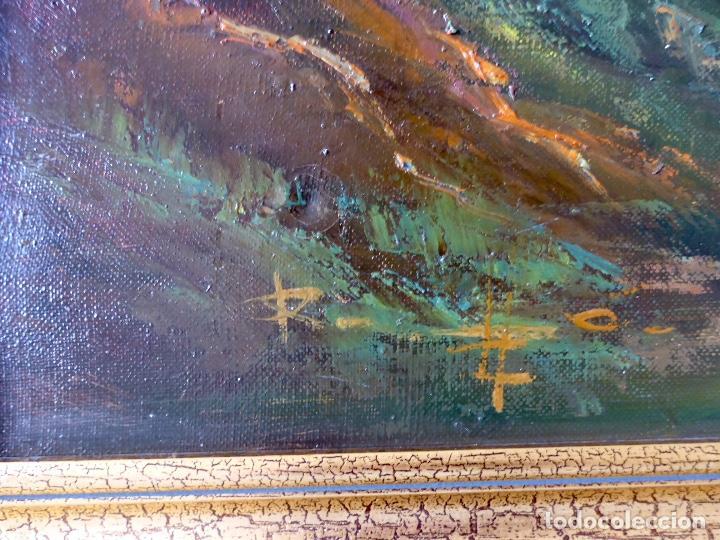 Arte: Paisaje Pintura Óleo Sobre Lienzo Grande Firmado y Enmarcado - Foto 2 - 160983894