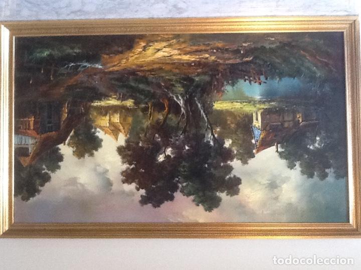 Arte: Paisaje Pintura Óleo Sobre Lienzo Grande Firmado y Enmarcado - Foto 3 - 160983894