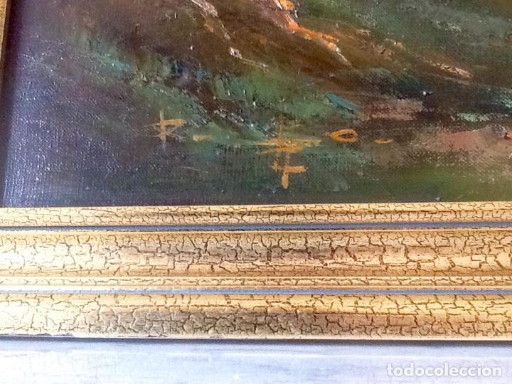 Arte: Paisaje Pintura Óleo Sobre Lienzo Grande Firmado y Enmarcado - Foto 4 - 160983894