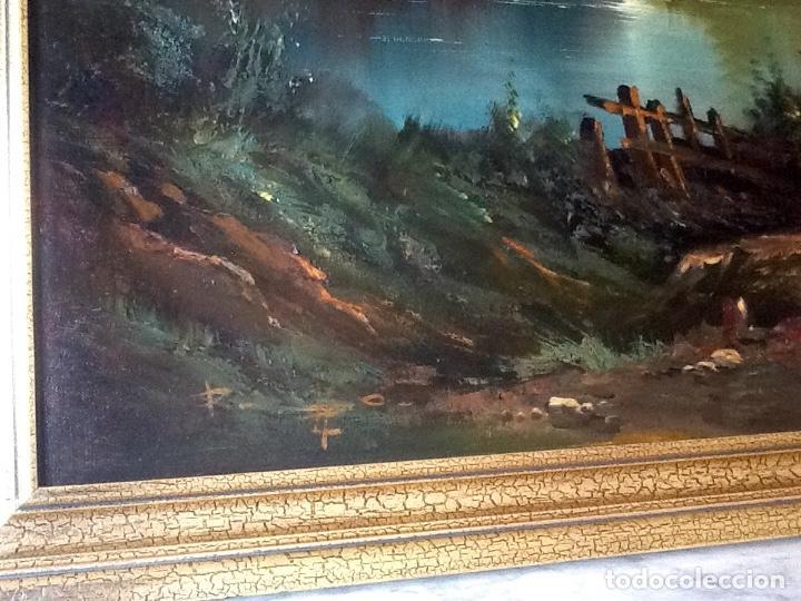 Arte: Paisaje Pintura Óleo Sobre Lienzo Grande Firmado y Enmarcado - Foto 5 - 160983894