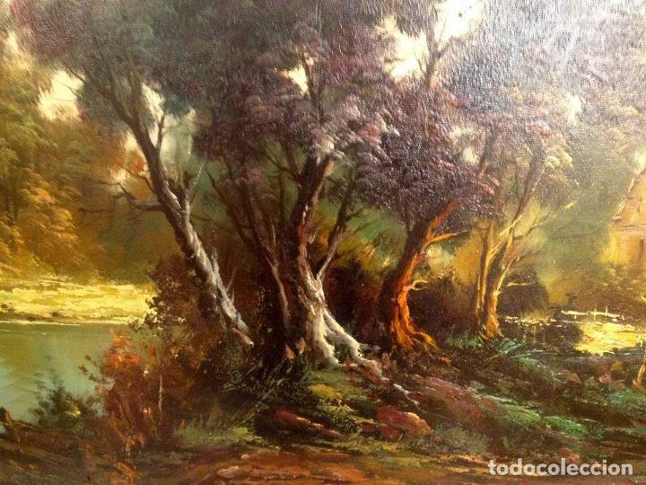 Arte: Paisaje Pintura Óleo Sobre Lienzo Grande Firmado y Enmarcado - Foto 9 - 160983894