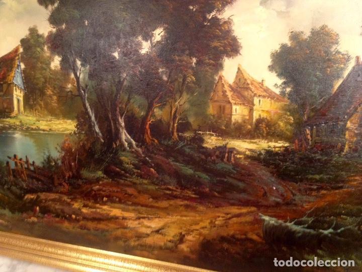 Arte: Paisaje Pintura Óleo Sobre Lienzo Grande Firmado y Enmarcado - Foto 10 - 160983894