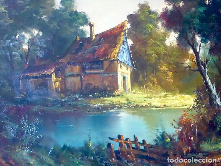Arte: Paisaje Pintura Óleo Sobre Lienzo Grande Firmado y Enmarcado - Foto 11 - 160983894