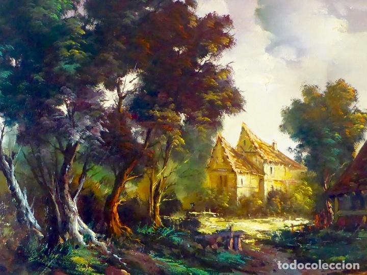 Arte: Paisaje Pintura Óleo Sobre Lienzo Grande Firmado y Enmarcado - Foto 12 - 160983894