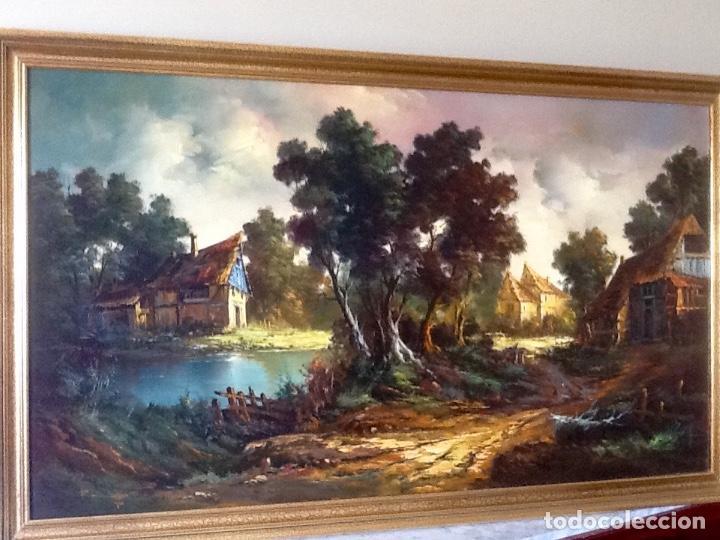 Arte: Paisaje Pintura Óleo Sobre Lienzo Grande Firmado y Enmarcado - Foto 13 - 160983894