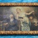 Arte: ANTIGUO ÓLEO SOBRE TABLA - ANCIANO Y JOVEN CON BALANZA - BELLA REPRESENTACIÓN - OBRA ENMARCADA. Lote 160983906