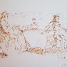Arte: BENJAMIN PALENCIA MERIENDA EN LA PLAYA. Lote 160987814