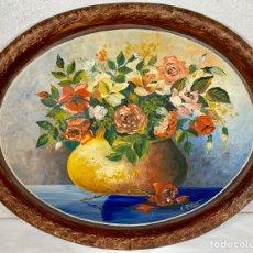Arte: GRAN ÓLEO SOBRE BANDEJA DE HIERRO BODEGÓN DE FLORES (FIRMADO) 1946. Lote 161077224