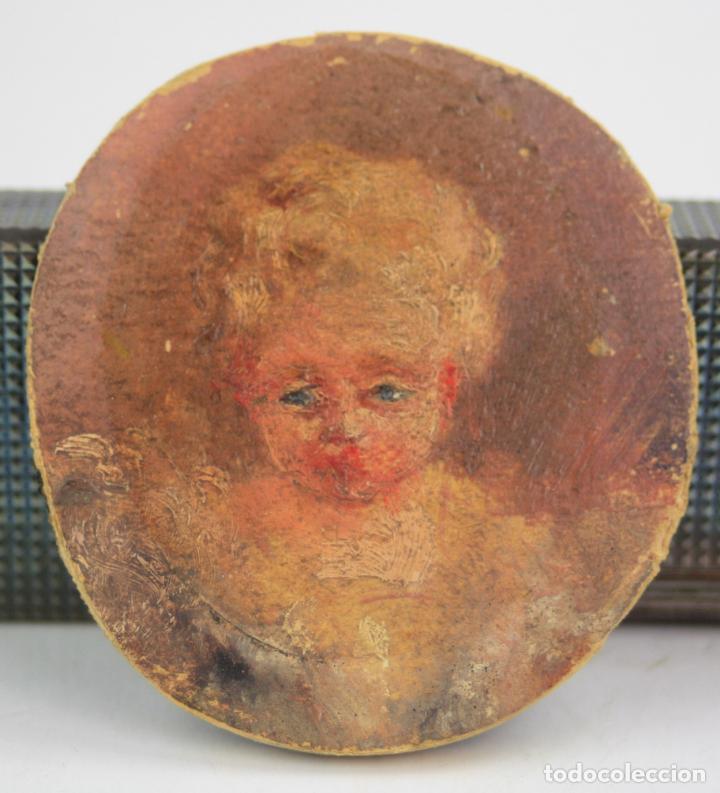 NIÑO O ÁNGEL, MINIATURA, MEDIADOS SIGLO XVIII, PINTURA AL ÓLEO. 6,5 CM DIÁMETRO. VER FOTOS. (Arte - Pintura - Pintura al Óleo Antigua siglo XVIII)
