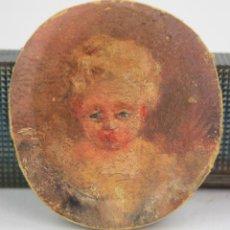 Arte: NIÑO O ÁNGEL, MINIATURA, MEDIADOS SIGLO XVIII, PINTURA AL ÓLEO. 6,5 CM DIÁMETRO. VER FOTOS.. Lote 161131094
