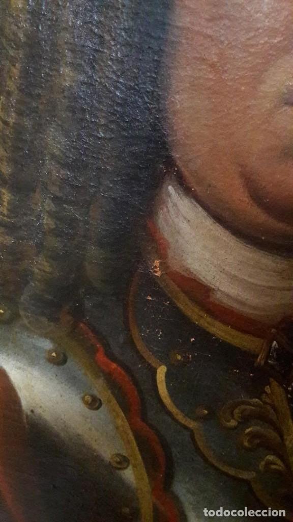 Arte: Pareja de Retratos Franceses. oleo/lienzo hacia 1680. Caballero con Armadura - Foto 5 - 160543390