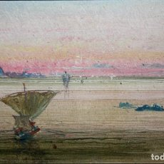 Arte: RICARD MARTI AGUILO (BARCELONA, 1868-1936) OLEO SOBRE CARTON. CALA SAN VICENTE (MALLORCA). AÑO 1920. Lote 161220346