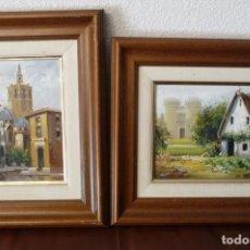 Arte: DOS OLEOS/ LIENZO, ROSELL, VISTAS DE VALENCIA, TOTAL ENMARCADO MADERA 40X35, OBRA 24X20. Lote 161254878
