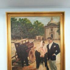 Kunst - Antiguo óleo sobre lienzo Madrid escena costumbrista - 161299580