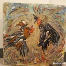 Arte: CUADRO MUY GRANDE OLEO LIENZO GALLOS PELEA IMPRESIONISMO ARTE. Lote 161349850