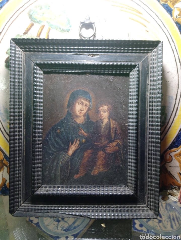 SIGLO XVIII VIRGEN CON NIÑO ÓLEO SOBRE COBRE MARCO ORIGINAL (Arte - Pintura - Pintura al Óleo Antigua siglo XVIII)