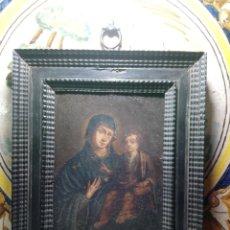 Arte: SIGLO XVIII VIRGEN CON NIÑO ÓLEO SOBRE COBRE MARCO ORIGINAL. Lote 161451228